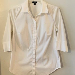 Ann Taylor White Button Front Shirt ~ 3/4 Sleeve 4